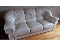 Cream Leather Sofa suite 3-1-1