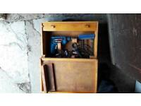 **BOSCH DRILL**WORKING**COMES IN HAND MADE WOODEN CARRY CASE**AND LOTS OF DRILL BITS