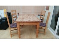 Solid pine table sets 6 - 8 and 4 upholstered matching chairs Quick Sale wanted