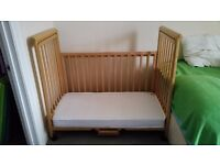 Troll Natural Birch Wood Dropside Bedside Cot Baby Co Sleeping with mattress