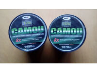 2 x Camo Fishing Line Bulk Spools in 10 and 12lb