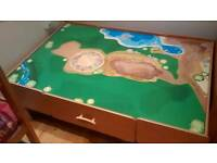 Wooden play table with 2 large storage drawers