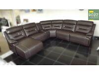 Designer Brown leather 5 piece lounger corner sofa (300) £999