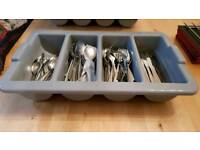 CATERING CUTLERY SET - 50 place settings and dispenser storage tray