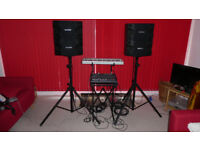 Yamaha 400 W Mixer Amplifier with speakers/stands/cables etc.