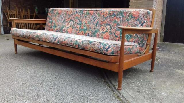 Mid Century Daybed Sofa Bed Wood Teak