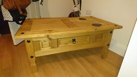 Matching wooden bookcase and coffee table