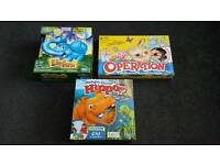 ASSORTMENT OF KIDS GAMES ELEFUN / OPERATION / HUNGRY HIPPOS
