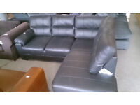 NEW Graded Black Leather Right Hand Corner Sofa Suite FREE LOCAL DELIVERY