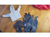 Jacket, jeans and x2 dungarees