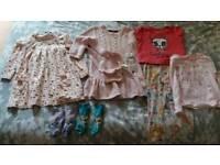 Girls clothes 2-3 years -2 dresses,1 bag, leggings, t-shirt, socks & pj top