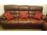 Item picture Brown Faux leather 4 recliner sofa sitting 6 person