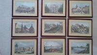 Set of 9 professionally framed prints of old German cities