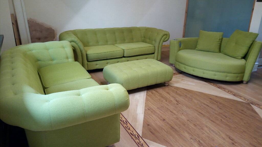 Lime green four piece suite