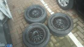 "17"" staggered 4x100 4x108 BBS RS style Alloy wheels job lot!! Polo golf lupo corsa micra 106 206 hh"