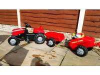 Rolly Massey Ferguson Pedal Ride-on Tractor with Trailer and Water Tanker
