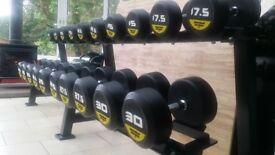 Brand New r3 7.5kg-30kg Round Rubber Dumbbells Set + Heavy Rack , Gym Weights Black Bull Fitness