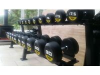 Brand New r3 7.5kg-30kg Round Rubber Dumbbells Set + Heavy Rack , Gym Weights Black Bull Fitness