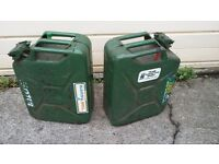 jerry cans - moto x , enduro, 20 litre steel petrol cannisters.