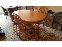 Solid Rubber Wood Dining Table + 4 chairs + 4 chair cushions