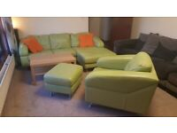 Green Leather sofa, armchair & pouffe set.