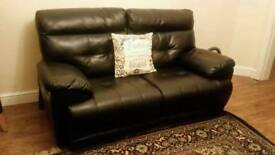 2 seater black leather sofa