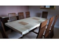 Large marble dinning table 8 chairs and matching sideboard