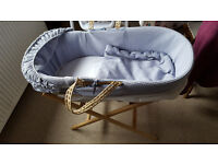 FREE: White and Blue Moses Basket - Including a Wooden Stand