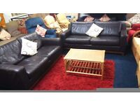 Leather* 2 x 3 seater sofas*BROWN*