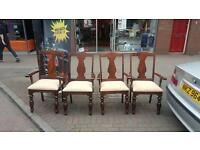 Solid oak carvers with cream seating in very good condition £80 for 4