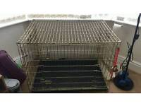 Large foldable dog cage with bottom tray
