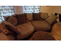 Brown and grey sofa with foot stool