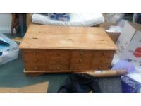 Striking large teak wooden storage chest