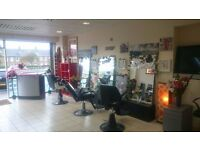 barbers equpment miror , desk, head wash 5 chairs