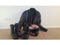 Motorbike, Helmet, Jacket, Gloves and Boots Motorcycle gear crash helmet leather jacket etc.