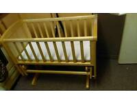 Mother care pine swinging crib with mattress and cover