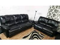 New Black real leather recliners 3+2 seater**Free delivery**