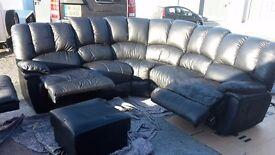 Black leather corner recliner