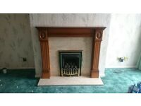 Gas Fire with Wood & Marble Surround. (Dismantled, ready for pickup)