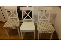Solid Wood Ingolf white chairs X 3