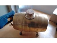 Vintage solid brass keg/barrel with tap and bung, excellent condition