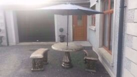 Complete Concrete patio set 1 table and two benches