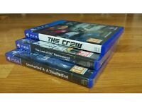 PS4 GAMES (UNCHARTED 4, THE LAST OF US REMASTERED, THE CREW)