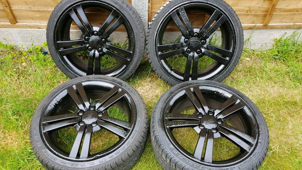 "Seat leon MK2 18"" FR alloy wheels - 5 x 112 - 225/40 - gloss black - £240"