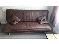 Real leather sofa bed excellent condition