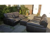 LEATHER SOFAS 2+2+FOOTSTOOL AND FREE DELIVERY