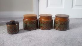 Hornsea bronte tea, sugar and coffee jars for sale with sugar bowl