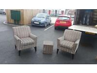 Pair of next stripy fabric occasional chairs with matching footrest in excellent condition £130