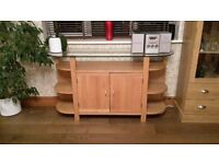 Solid Oak Sideboard with Glass Top