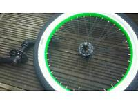 Blank 9T bmx rear wheel. Eclat tyre. 3 peice cranks. 25T Chain ring. Ready to roll